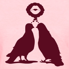 Kiss thinking  Doves - Two Valentine Birds_1c Women's T-Shirts
