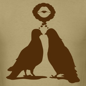 Kiss thinking  Doves - Two Valentine Birds_1c T-Shirts - Men's T-Shirt