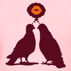 Kiss thinking  Doves - Two Valentine Birds_2c Women's T-Shirts