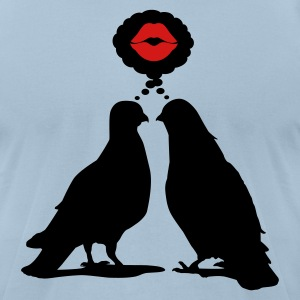 Kiss thinking  Doves - Two Valentine Birds_2c T-Shirts - Men's T-Shirt by American Apparel