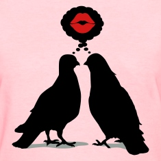Kiss thinking  Doves - Two Valentine Birds_3c Women's T-Shirts