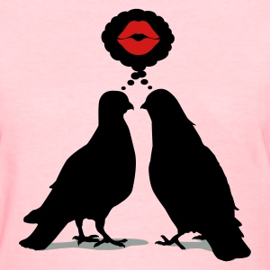 Kiss thinking  Doves - Two Valentine Birds_3c Women's T-Shirts - Women's T-Shirt