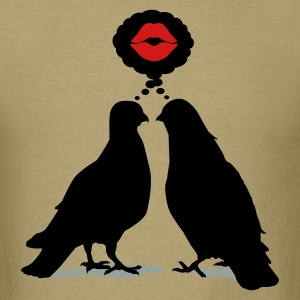 Kiss thinking  Doves - Two Valentine Birds_3c T-Shirts - Men's T-Shirt