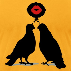 Kiss thinking  Doves - Two Valentine Birds_3c T-Shirts - Men's T-Shirt by American Apparel