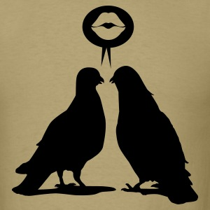 Kiss saying Doves - Two Valentine Birds_1c T-Shirts - Men's T-Shirt