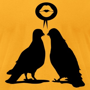 Kiss saying Doves - Two Valentine Birds_1c T-Shirts - Men's T-Shirt by American Apparel