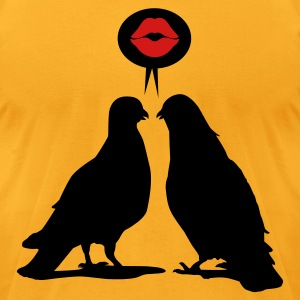 Kiss saying  Doves - Two Valentine Birds_2c T-Shirts - Men's T-Shirt by American Apparel