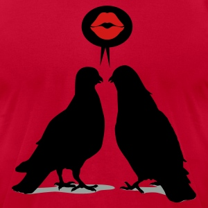Kiss saying  Doves - Two Valentine Birds_3c T-Shirts - Men's T-Shirt by American Apparel