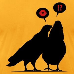 Kiss me Doves - Two Valentine Birds_2c T-Shirts - Men's T-Shirt by American Apparel
