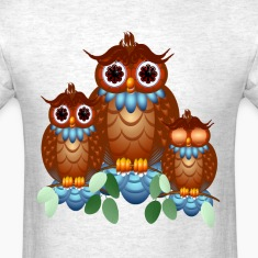 Three Alert Little Owls