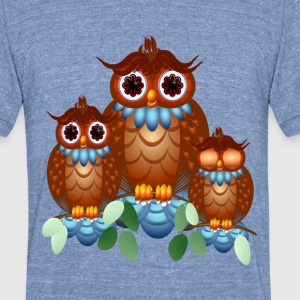 Three Alert Little Owls - Unisex Tri-Blend T-Shirt by American Apparel
