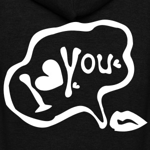 I love you Unisex Fleece Zip Hoodie by American Apparel - Unisex Fleece Zip Hoodie by American Apparel