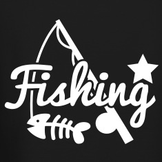 FISHING star with rod and fish bones Long Sleeve Shirts