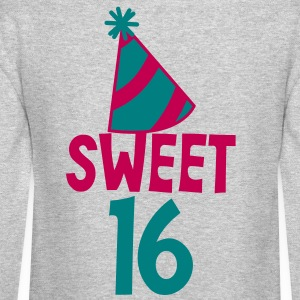 BIRTHDAY 16 SWEET SIXTEEN with a party hat Long Sleeve Shirts - Crewneck Sweatshirt