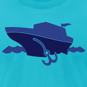 cruise sail boat on the ocean with waves and an anchor T-Shirts - Men's T-Shirt by American Apparel
