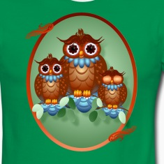 Three Alert Little Owls Oval