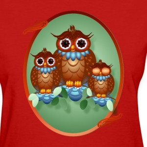 Three Alert Little Owls Oval - Women's T-Shirt