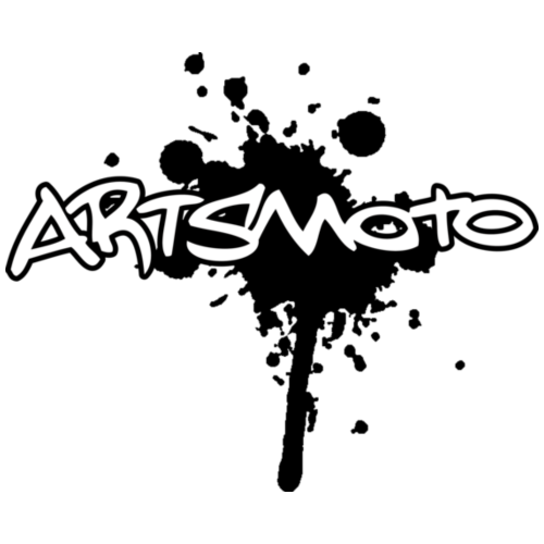 "Artsmoto Logo ""Splatter"" Black Outline /White Fill"