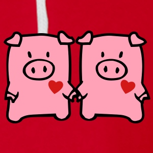 two cute pigs Zip Hoodies/Jackets - Unisex Fleece Zip Hoodie by American Apparel