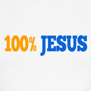 100% Jesus Men's Short Sleeve on Back - Men's Ringer T-Shirt