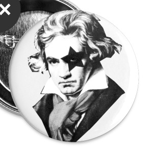 Beethoven rock Kiss Black Metal Buttons - Small Buttons