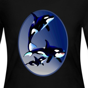 Killer Whale Family Oval - Women's Long Sleeve Jersey T-Shirt