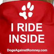 Design ~ Official Dogs Against Romney I Ride Inside Dog Bandana