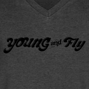 Young & Fly T-Shirts - Men's V-Neck T-Shirt by Canvas