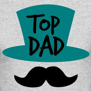 TOP DAD with top hat and moustache Long Sleeve Shirts - Men's Long Sleeve T-Shirt by Next Level
