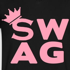 Royal SWAG KING T-Shirts - Men's V-Neck T-Shirt by Canvas