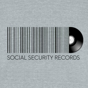 Social Security Records Vintage Logo Tee Gray - Unisex Tri-Blend T-Shirt by American Apparel