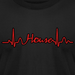 Lines of Heart House Music electrocardiogram heart pulse T-Shirts - Men's T-Shirt by American Apparel
