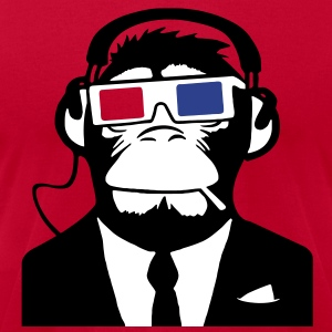 3D Ape Monkey Club Electro Motive Headphones  T-Shirts - Men's T-Shirt by American Apparel