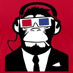 3D Ape Monkey Club Electro Motive Headphones  T-Shirts