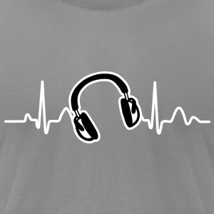 Lines of Heart, Heart Pulz line electrocardiogram with headphones headphones T-Shirts - Men's T-Shirt by American Apparel