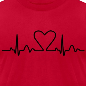 Lines of Heart electrocardiogram heart pulse heart, loving couples, Valentine's Day T-Shirts - Men's T-Shirt by American Apparel