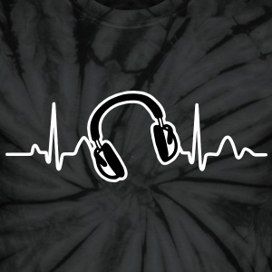 Lines of Heart, Heart Pulz line electrocardiogram with headphones headphones T-Shirts - Unisex Tie Dye T-Shirt