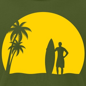 surfer palms sun surfboard surfing sundown sunset swim beach T-Shirts - Men's T-Shirt by American Apparel