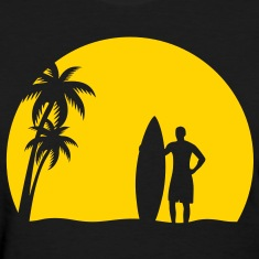 surfer palms sun surfboard surfing sundown sunset swim beach Women's T-Shirts