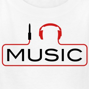 I love music plug headphones sound bass beat catch cable music i love techno minimal house club dance dj discjockey electronic electro Kids' Shirts - Kids' T-Shirt