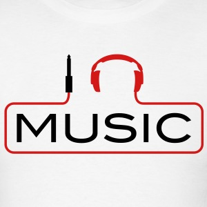 I love music plug headphones sound bass beat catch cable music i love techno minimal house club dance dj discjockey electronic electro T-Shirts - Men's T-Shirt