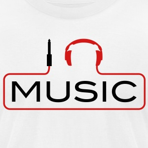 I love music plug headphones sound bass beat catch cable music i love techno minimal house club dance dj discjockey electronic electro T-Shirts - Men's T-Shirt by American Apparel