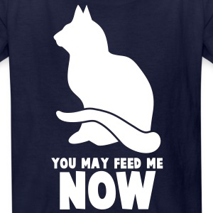 RUDE CAT saying  YOU MAY FEED ME NOW! Kids' Shirts - Kids' T-Shirt