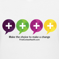 Design ~ First Comes Health V-Neck Four Balloons Women's T