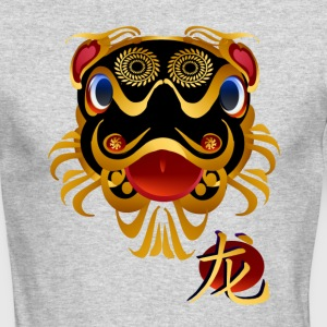 Black n Gold Chinese Dragon 's Face and Symbol - Men's Long Sleeve T-Shirt by Next Level