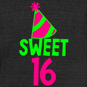 BIRTHDAY 16 SWEET SIXTEEN with a party hat T-Shirts - Unisex Tri-Blend T-Shirt by American Apparel