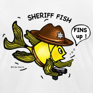 Sheriff fish holding gun saying fins up  - Men's T-Shirt by American Apparel