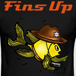 Sheriff fish holding gun saying fins up  - Men's Ringer T-Shirt