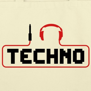 I Love Techno headphones music minimal gabber club bass beat hardcore Bags  - Eco-Friendly Cotton Tote