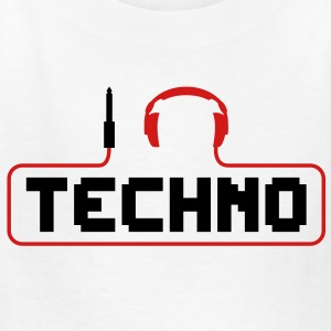 I Love Techno headphones music minimal gabber club bass beat hardcore Kids' Shirts - Kids' T-Shirt